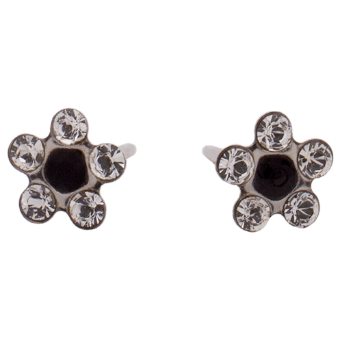 Silver Daisy Clear/Black Crystal