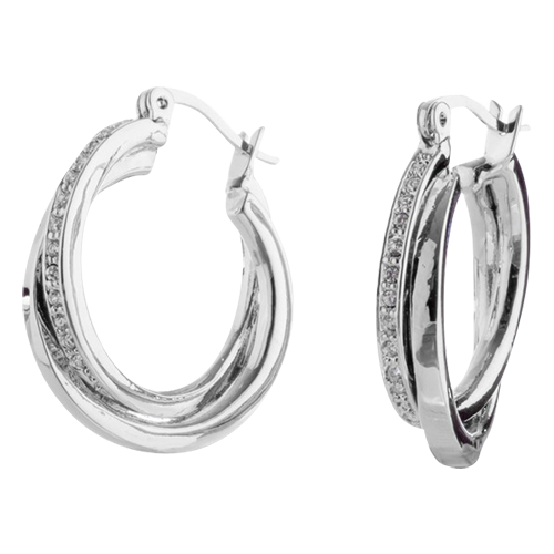 Silver Crystal Twist Hoop