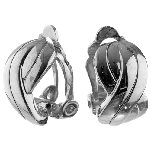 Silver Wave Hoop Clip On