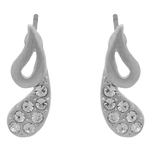 Silver Plain and Crystal Tear Drops