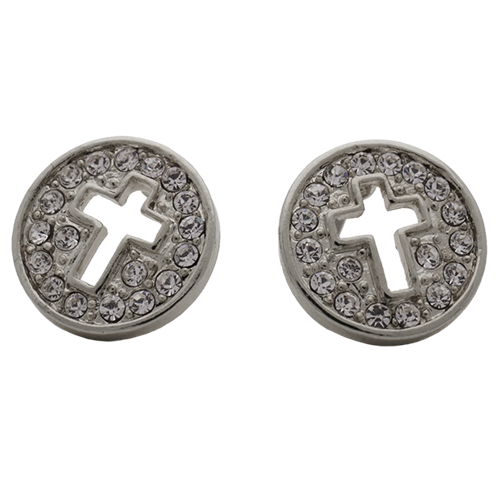 Silver Pave Disc with Cut Out Cross