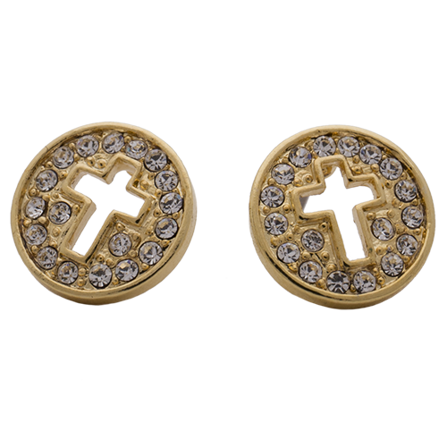 Gold Pave Disc with Cut Out Cross