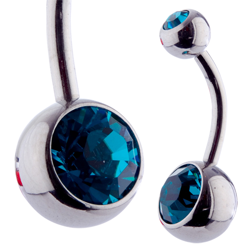 Double Jewel Banana 10mm Blue Zircon