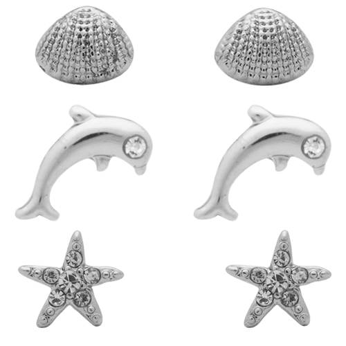 Rhodium  Shell + Dolphin + Starfish