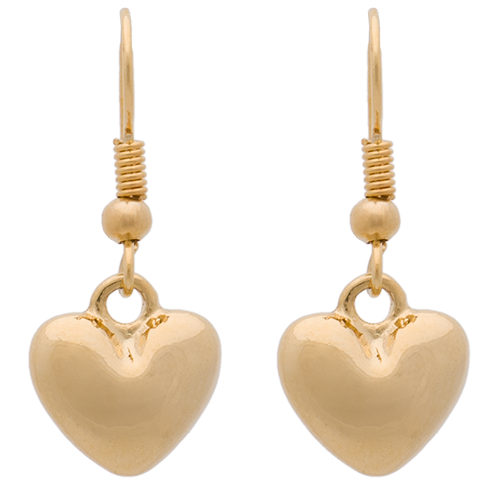 Polished Gold Heart on Hook